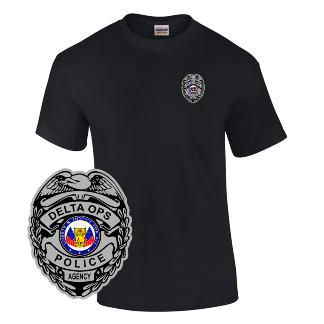 Law Enforcement Badge T Shirt Style 1 Custom Imprinted T