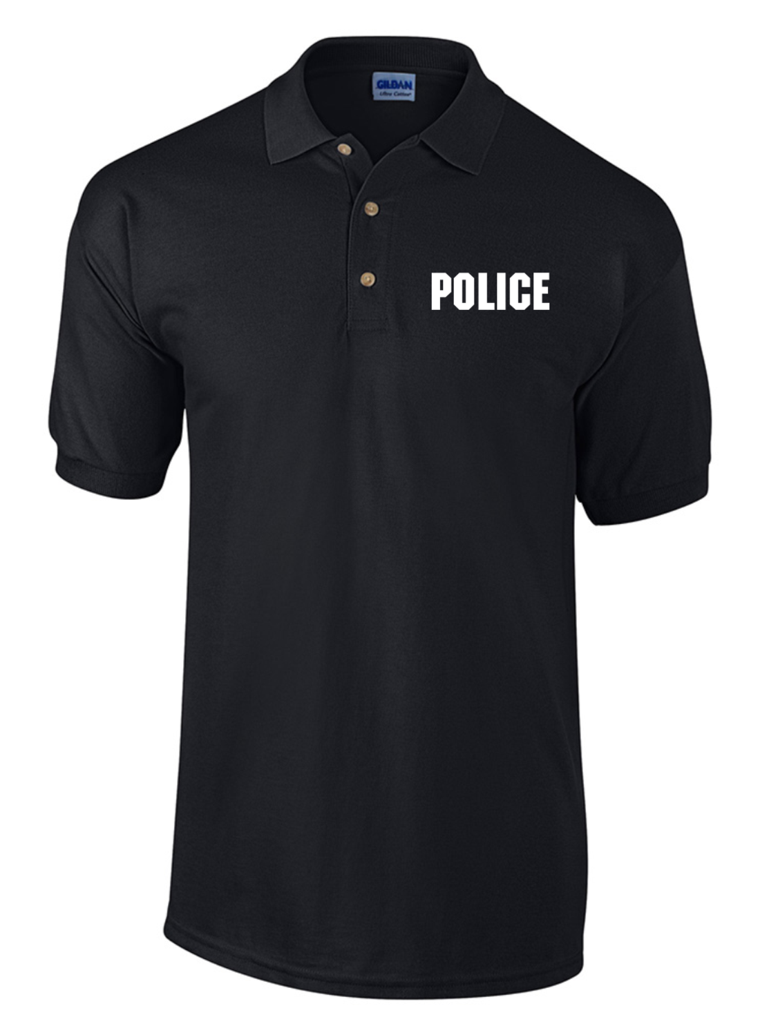 Law enforcement knit polo shirt with raid style imprint for Embroidered police polo shirts