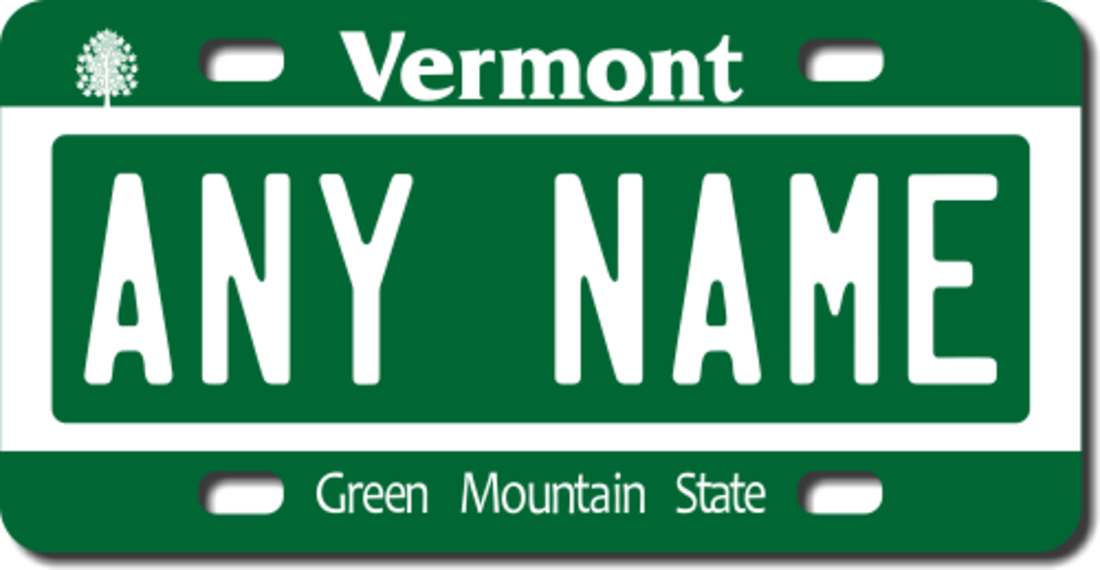 Personalized vermont license plate for bicycles kid 39 s for Vermont motor vehicle laws