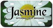 Personalized White Sunflower License Plate for Bicycles, Kid's Bikes, Carts, Cars or Trucks