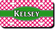 Personalized Polka Dot License Plate for Bicycles, Kid's Bikes, Carts, Cars or Trucks