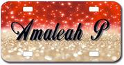 Personalized Red and Gold Sparkles License Plate for Bicycles, Kid's Bikes, Carts, Cars or Trucks