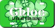 Personalized Shamrock License Plate for Bicycles, Kid's   Bikes, Carts, Cars or Trucks