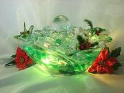 Christmas gift ideas. Holiday fountain with spinning globe and illuminating faux ice
