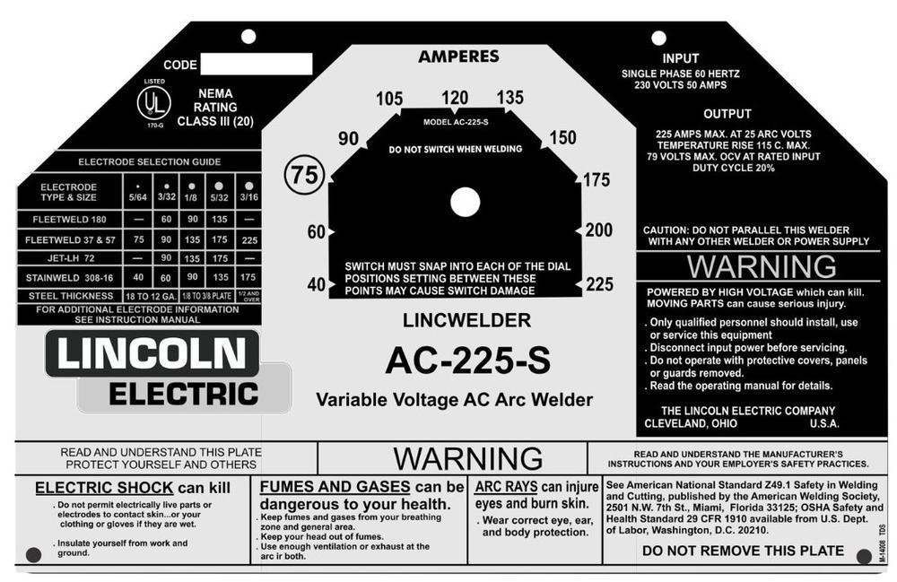 Lincoln Welder Control Plates  U0026 Decals  Miller Welders