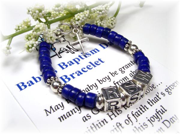 Personalized Baby Boy Baptism Bracelet Name