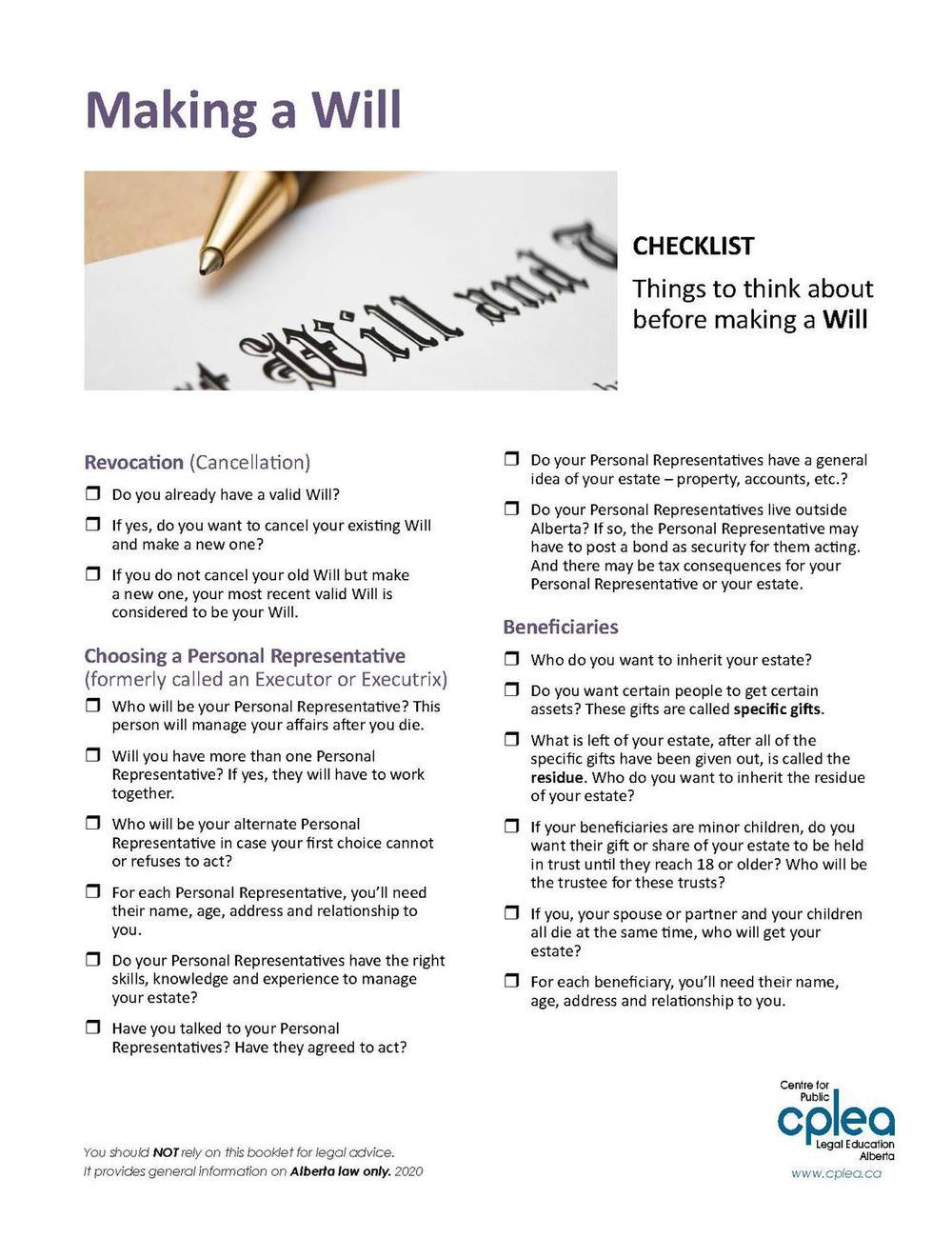 Making a Will - CHECKLIST