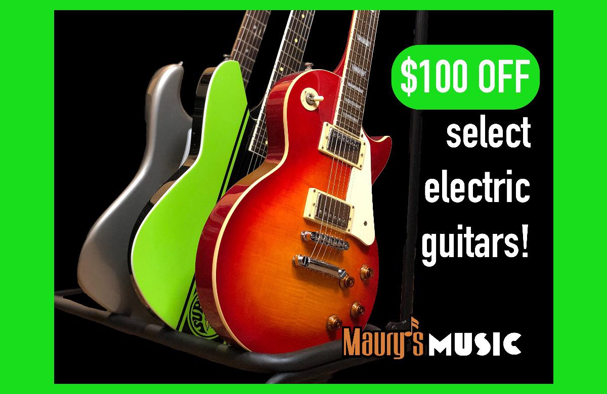 $100 OFF Select Electric Guitars