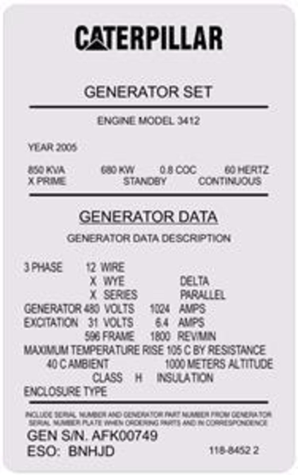 Caterpillar Generator Engine Model 3412 Replacement Chrome Decal