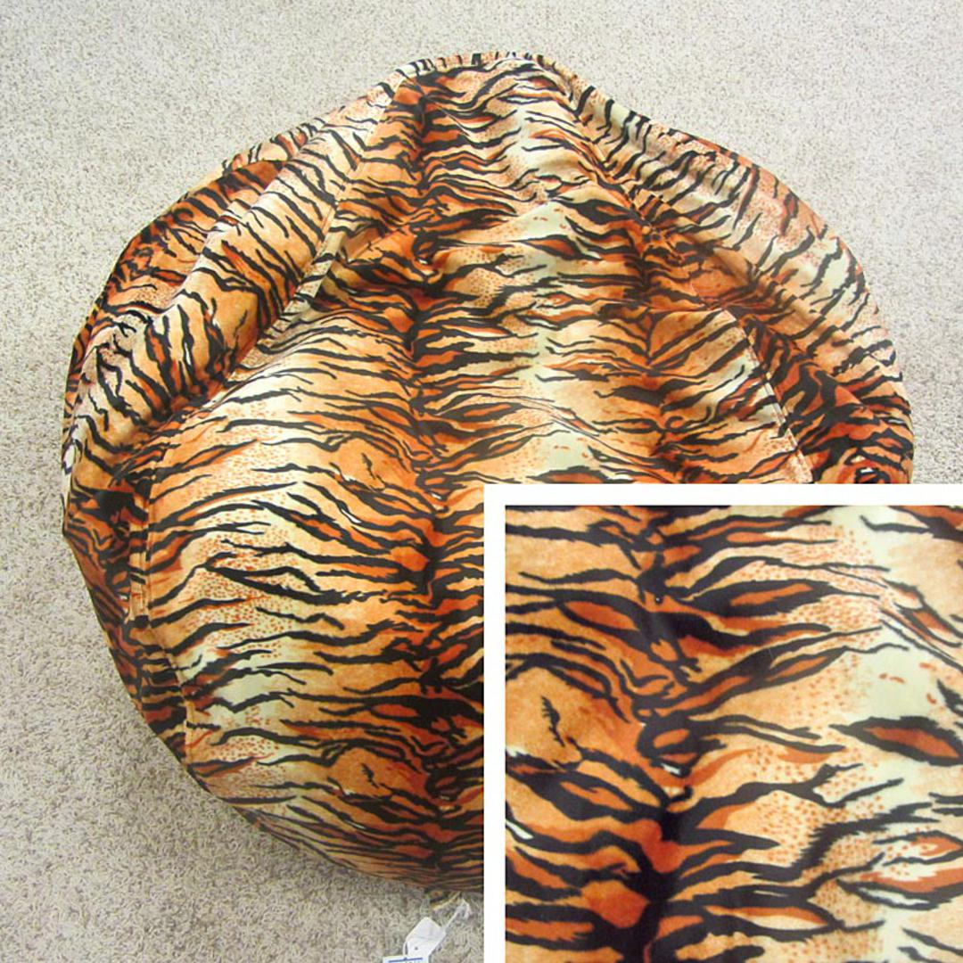 Awe Inspiring Short Pile Faux Fur Animal Print Bean Bag Chair Tiger Ocoug Best Dining Table And Chair Ideas Images Ocougorg