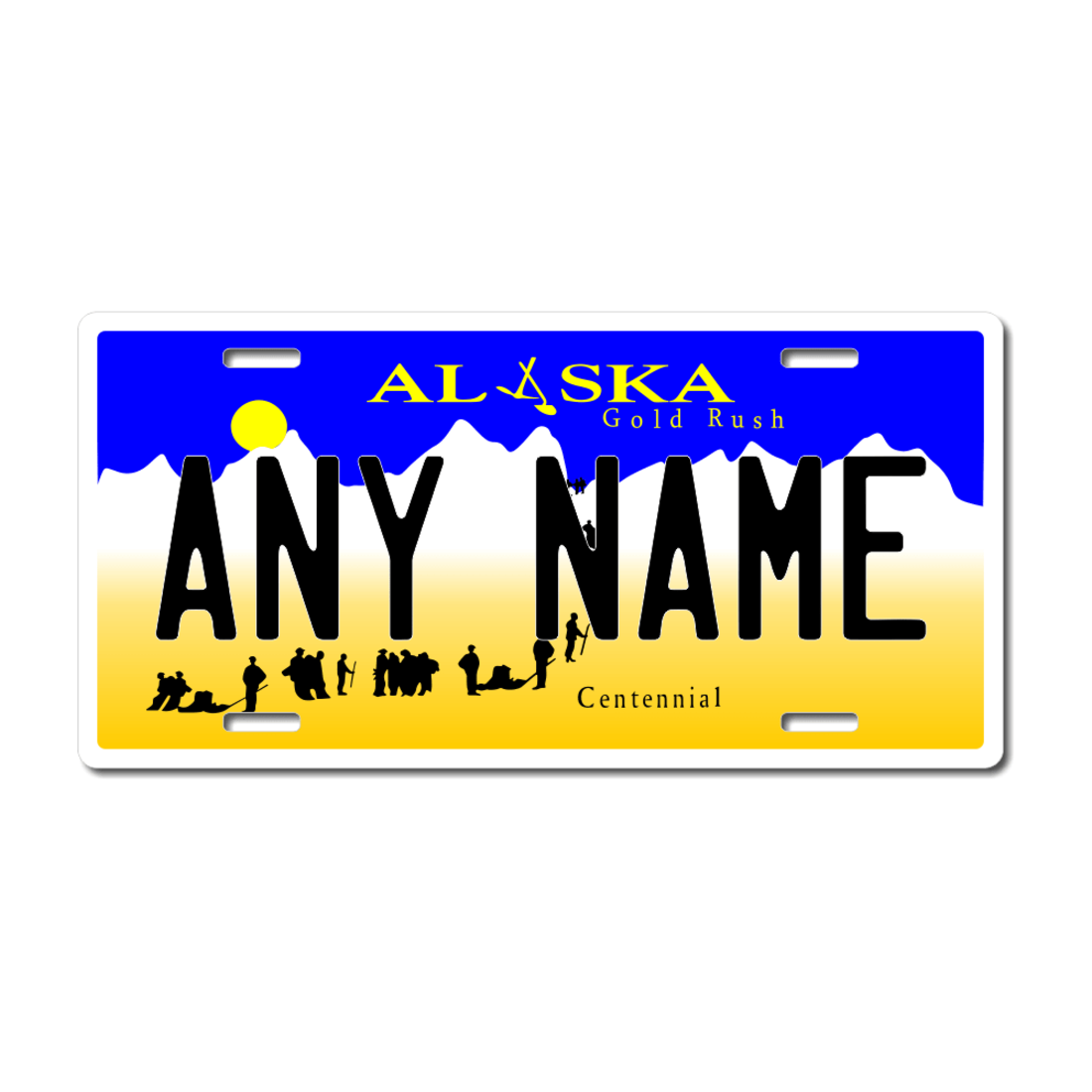 CUSTOM PERSONALIZED 2 HOLE BICYCLE STATE LICENSE PLATE-ALASKA