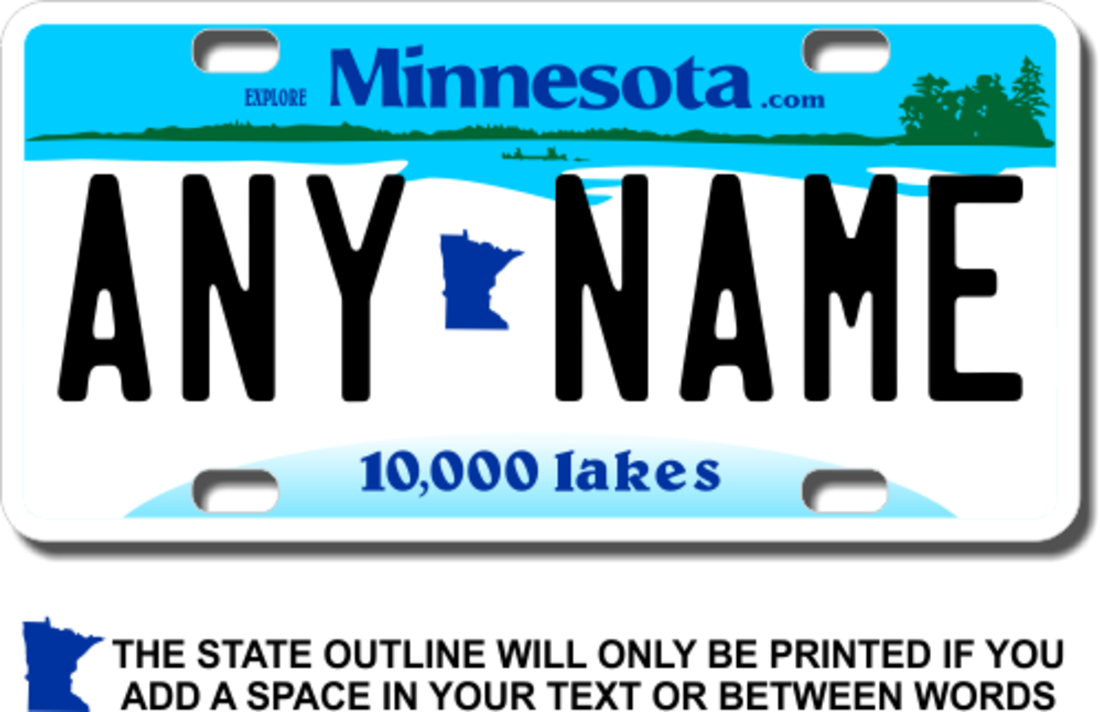 Personalized Minnesota License Plate for Bicycles, Kid\'s Bikes ...