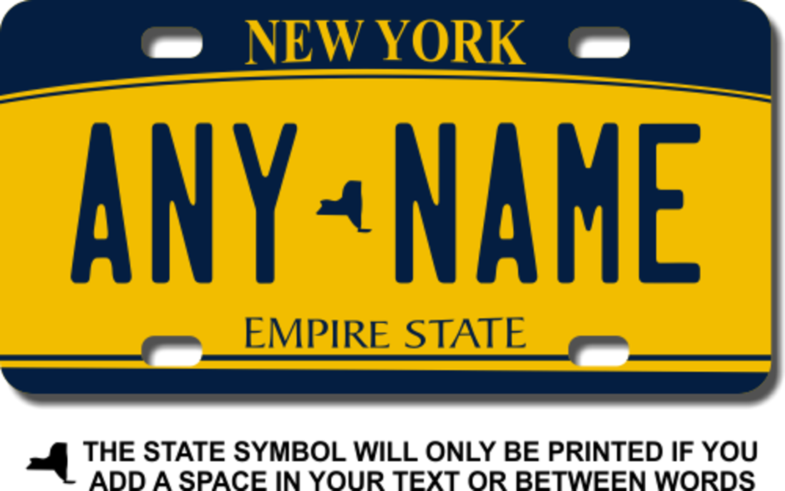 Personalized New York License Plate for Bicycles, Kid's Bikes, Carts, Cars or Trucks Version 2 - Teamlogo.com | Custom Imprint and Embroidery