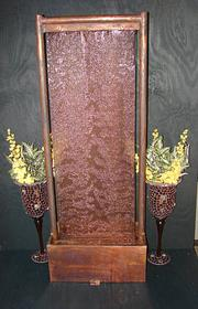 Copper Screen Floor Fountain | Cascading wall of water fountain