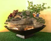 Bonsai waterfall fountain with lights, Lucky Jade or Juniper Trees