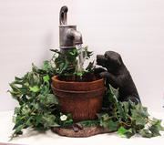 Puppy drinking Fountain with solar light