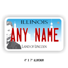 Personalized Illinois License Plate for Bicycles, Kid's Bikes, Carts, Cars  or Trucks Version 3