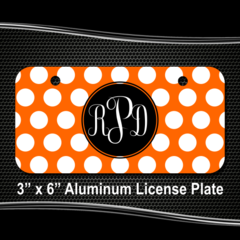 230fc4ba Personalized Polka Dot Monogram License Plate for Bicycles, Kid's Bikes,  Carts, Cars or Trucks - Teamlogo.com | Custom Imprint and Embroidery