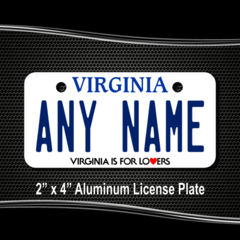 CUSTOM PERSONALIZED ALUMINUM BICYCLE STATE LICENSE PLATE-VIRGINIA IS FOR LOVERS