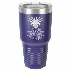 Personalized Laser Engraved 30 oz Insulated Tumbler - Pineapple
