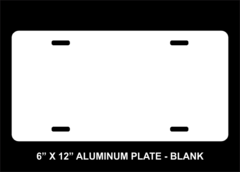 Blank 6 X 12 Aluminum License Plate