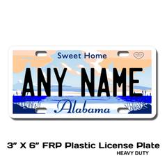 Personalized Alabama 3 X 6 Plastic License Plate