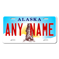 Personalized Alaska License Plate for Bicycles, Kid's Bikes, Carts, Cars or Trucks Version 3
