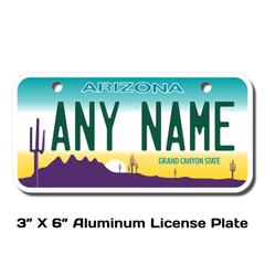 Personalized Arizona 3 X 6 License Plate