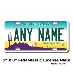 Personalized Arizona 3 X 6 Plastic License Plate