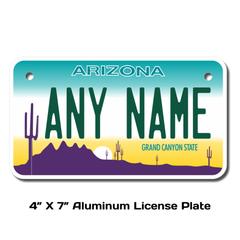 Personalized Arizona 4 X 7 License Plate