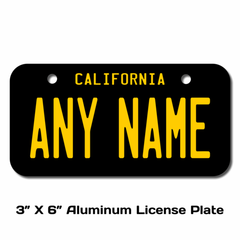 Personalized California 3 X 6 License Plate