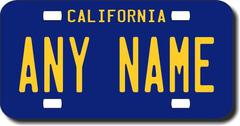 Personalized California License Plate for Bicycles, Kid's Bikes, Carts, Cars or Trucks Version 3