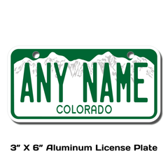 Personalized Colorado 3 X 6 License Plate