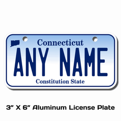 Personalized Connecticut 3 X 6 License Plate