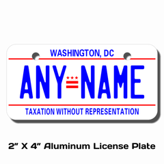 Personalized District of Columbia 2 X 4 License Plate
