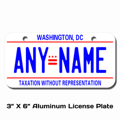 Personalized District of Columbia 3 X 6 License Plate