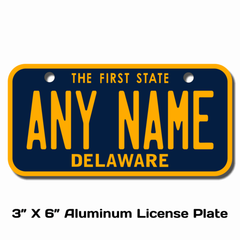 Personalized Delaware 3 X 6 License Plate
