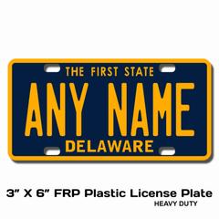 Personalized Delaware 3 X 6 Plastic License Plate