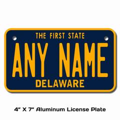Personalized Delaware 4 X 7 License Plate