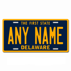 Personalized Delaware License Plate for Bicycles, Kid's Bikes, Carts, Cars or Trucks