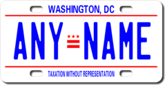 Personalized District of Columbia D.C. License Plate for Bicycles, Kid's Bikes, Carts, Cars or Truck