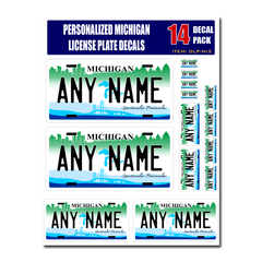 Personalized Michigan License Plate Decals - Stickers Version 2