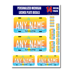 Personalized Michigan License Plate Decals - Stickers Version 4