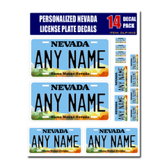 Personalized Nevada License Plate Decals - Stickers Version 2