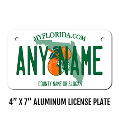 Personalized Florida 4 X 7 License Plate