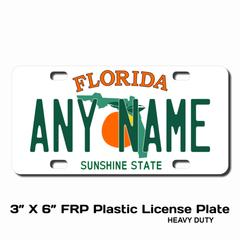 Personalized Florida 3 X 6 Plastic License Plate