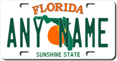 Personalized Florida License Plate for Bicycles, Kid's Bikes, Carts, Cars or Trucks