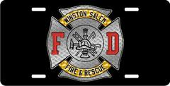 Personalized Fire Dept Maltese License Plate for Bicycles, Kid's Bikes, Carts, Cars or Trucks