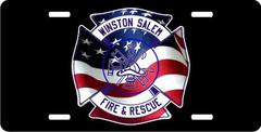 Personalized Fire Dept American Flag Maltese License Plate for Bicycles, Kid's Bikes, Carts, Cars or
