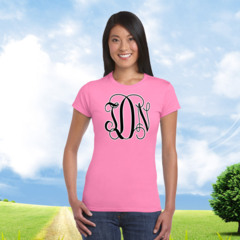 Junior Fit Ladies' T-Shirt with Full Front 2 Color Personalized Monogram